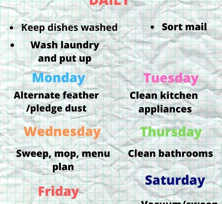 A Realistic Cleaning/Chore schedule
